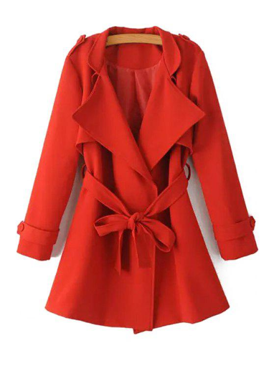 buy Turn-Down Collar Belt Pure Color Trench Coat - RED S