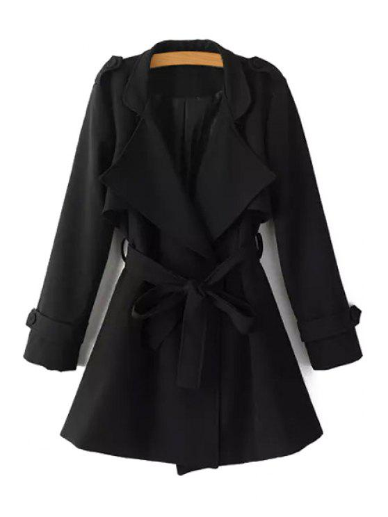 lady Turn-Down Collar Belt Pure Color Trench Coat - BLACK L