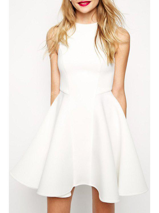 fashion Sleeveless Fit and Flare Dress - WHITE S