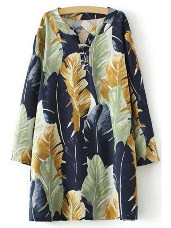 shops Color Block Leaves Print Long Sleeve Dress - COLORMIX XL