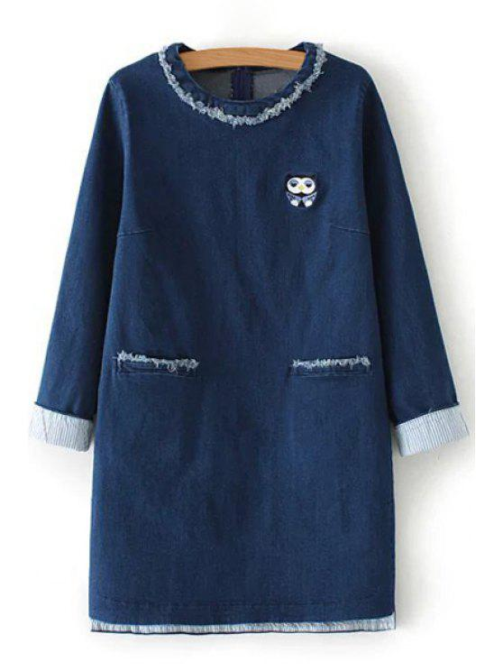 trendy Owl Embroidery Pocket Long Sleeve Dress - BLUE S
