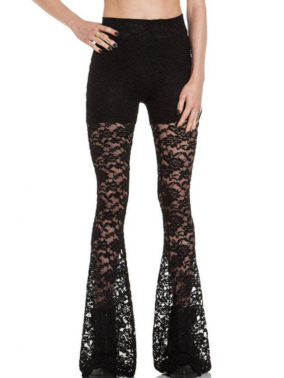 lady Openwork Lace Hook Flare Pants - BLACK S
