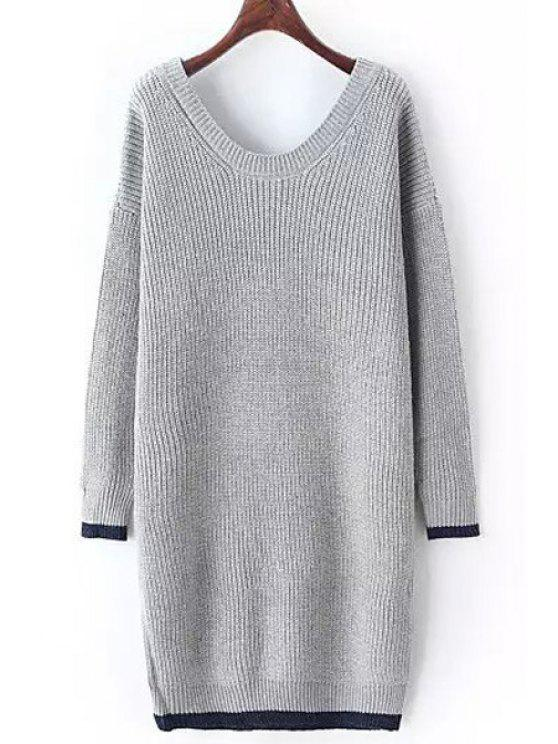Scoop Neck Color Block Long Sleeves Sweater - GRAY ONE SIZE(FIT SIZE XS TO M)