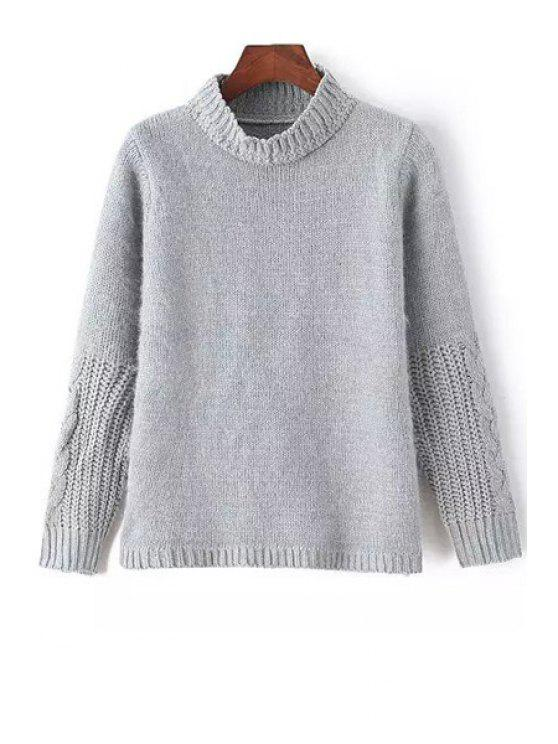 sale Stand-Up Collar Grey Plaid Pattern Sweater - GRAY ONE SIZE(FIT SIZE XS TO M)