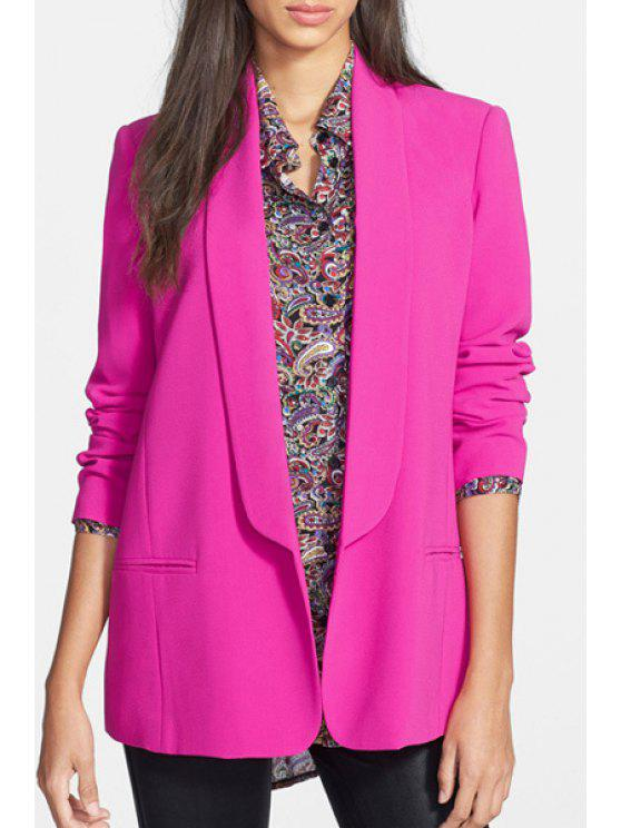 best Shawl Neck Solid Color Blazer - ROSE S