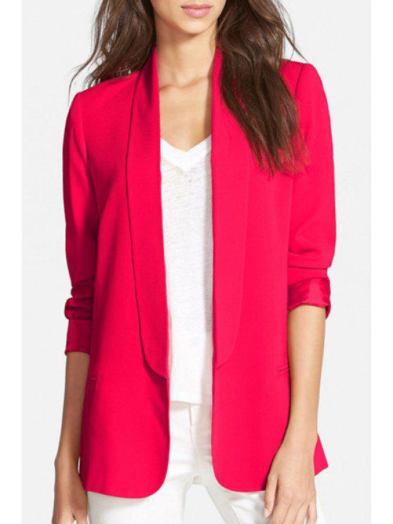 fashion Shawl Neck Solid Color Blazer - RED M