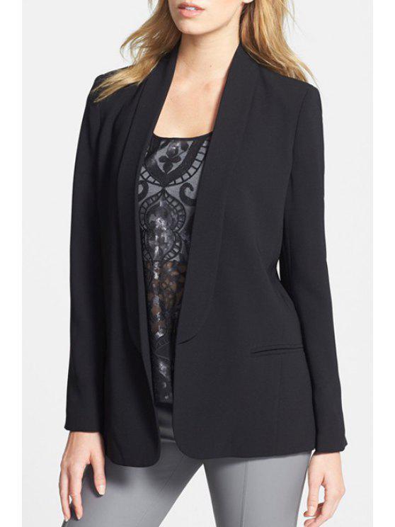 shop Shawl Neck Solid Color Blazer - BLACK L