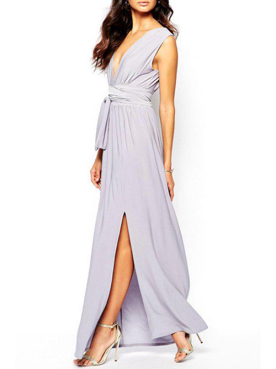 buy Light Purple Plunging Neck Sleeveless Maxi Dress - LIGHT PURPLE XS
