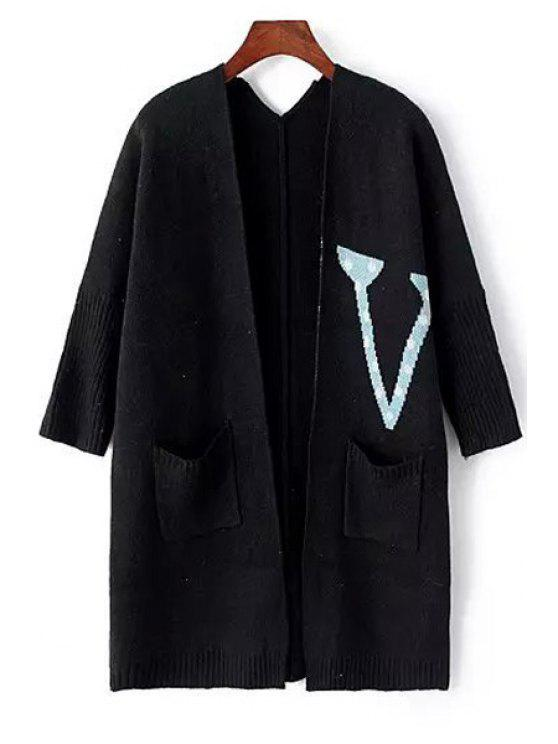 outfit Collarless Letter Pattern Long Sleeve Cardigan - BLACK ONE SIZE(FIT SIZE XS TO M)