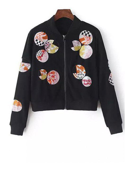 outfits Round Pattern Embroidery Long Sleeve Coat - BLACK M