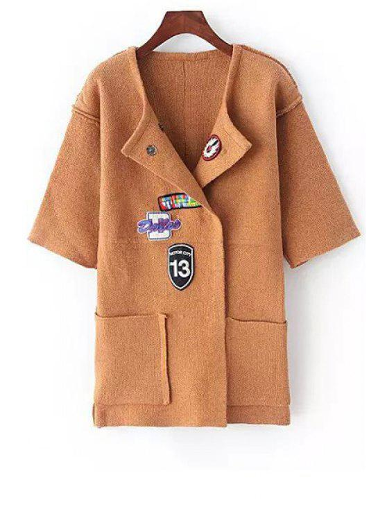 ladies Turn-Down Collar Applique Embellished Cardigan - KHAKI ONE SIZE(FIT SIZE XS TO M)