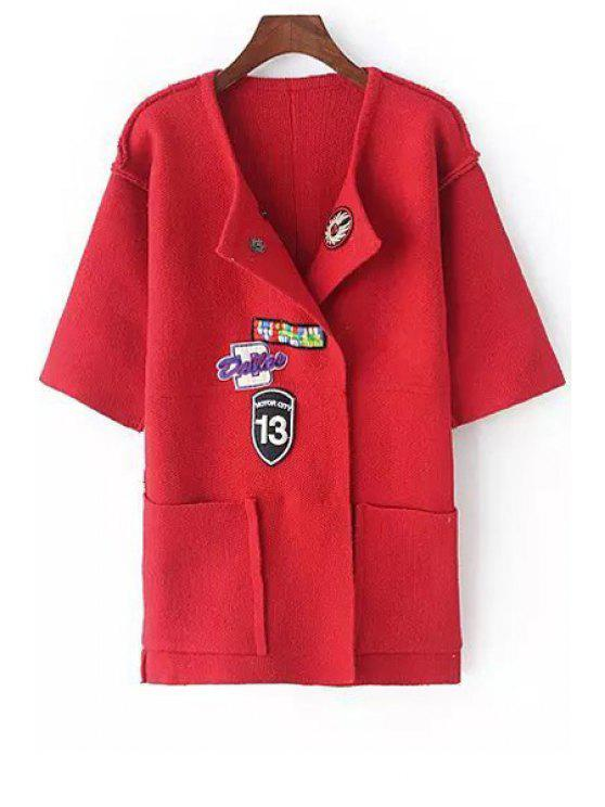 lady Turn-Down Collar Applique Embellished Cardigan - RED ONE SIZE(FIT SIZE XS TO M)