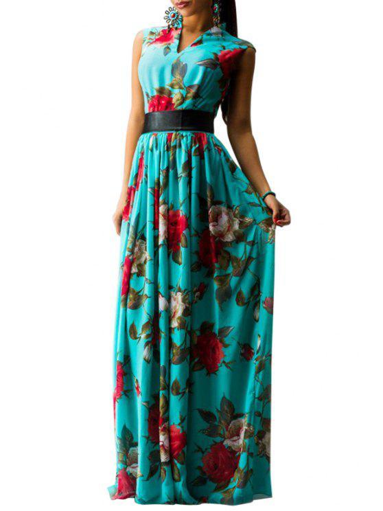 unique Full Flower Print V Neck Sleeveless Maxi Dress - TURQUOISE S