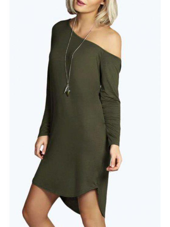 shop One-Shoulder Long Sleeve Dress - ARMY GREEN S