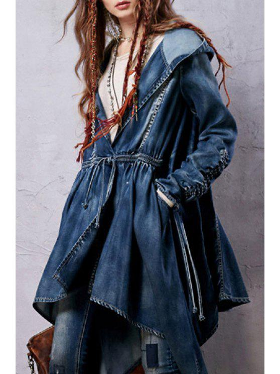 outfit Denim Hooded Long Sleeve Coat - BLUE M