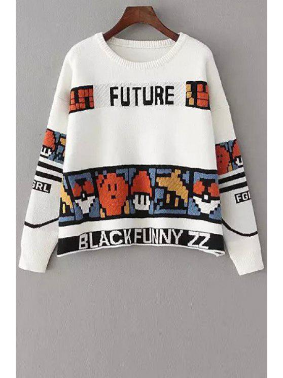 outfit Colorful Cartoon Pattern Long Sleeve Sweater - WHITE ONE SIZE(FIT SIZE XS TO M)