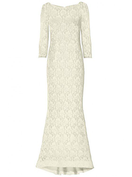 outfits Openwork Lack Hook Fishtail Dress - OFF-WHITE XL