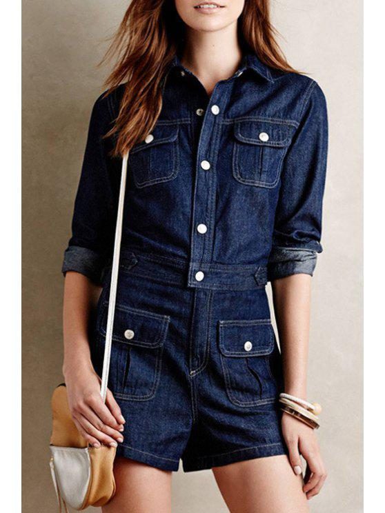 women's Long Sleeve Single-Breasted Denim Playsuit - CADETBLUE M
