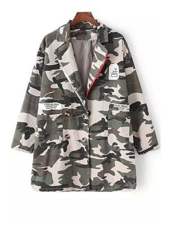 women Camouflage Print Double-Breasted Long Sleeve Coat - CAMOUFLAGE L