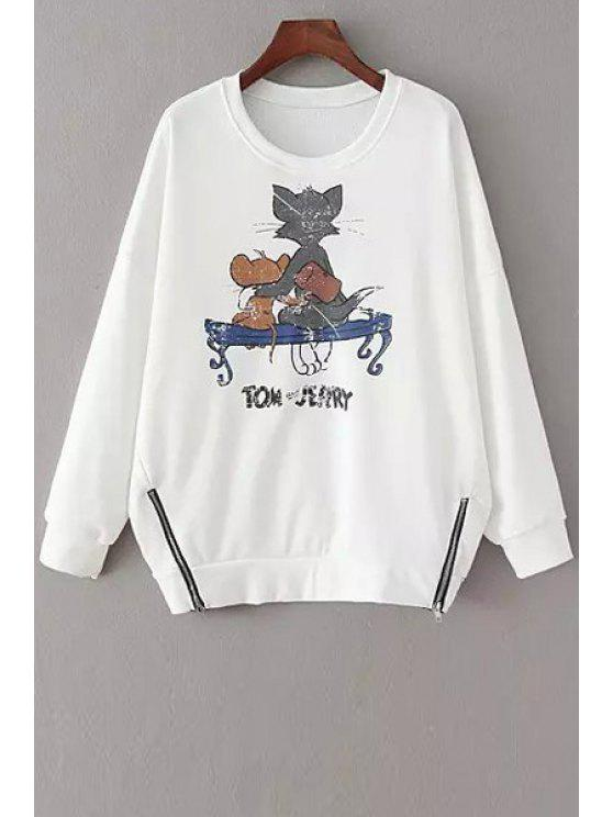 chic Scoop Neck Cat and Mouse Long Sleeve Sweatshirt - WHITE ONE SIZE(FIT SIZE XS TO M)