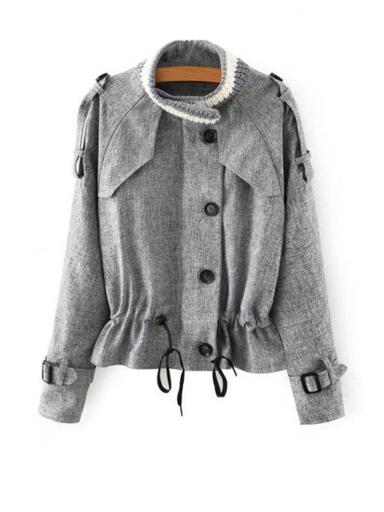 women Solid Color Stand Neck Long Sleeves Coat - GRAY S