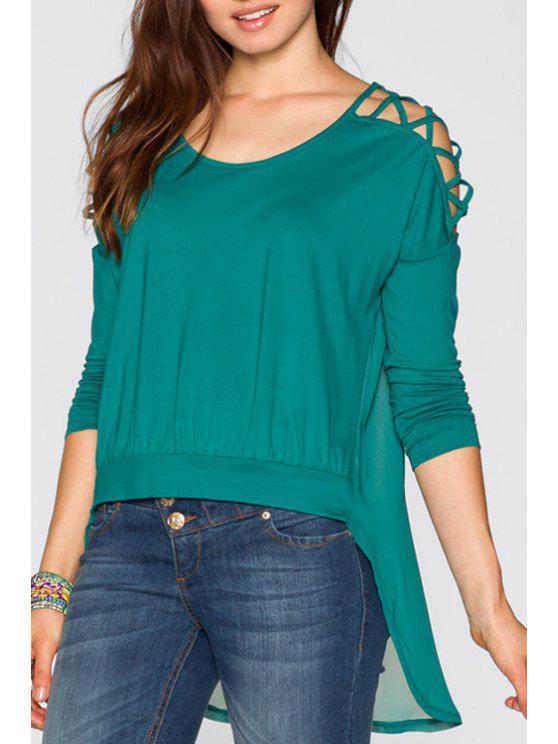 buy Chiffon Spliced Dovetail T-Shirt - GREEN S