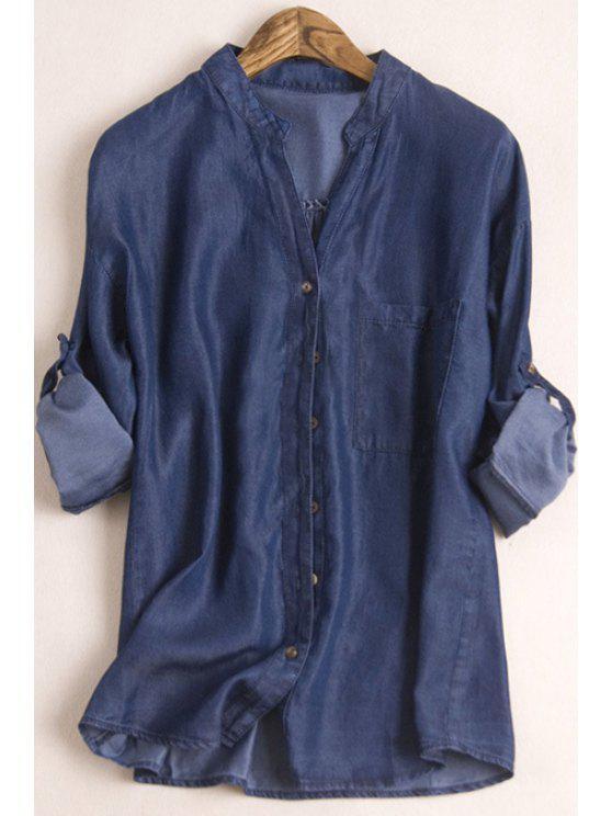 best Deep Blue Stand Collar Long Sleeves Denim Shirt - DEEP BLUE S