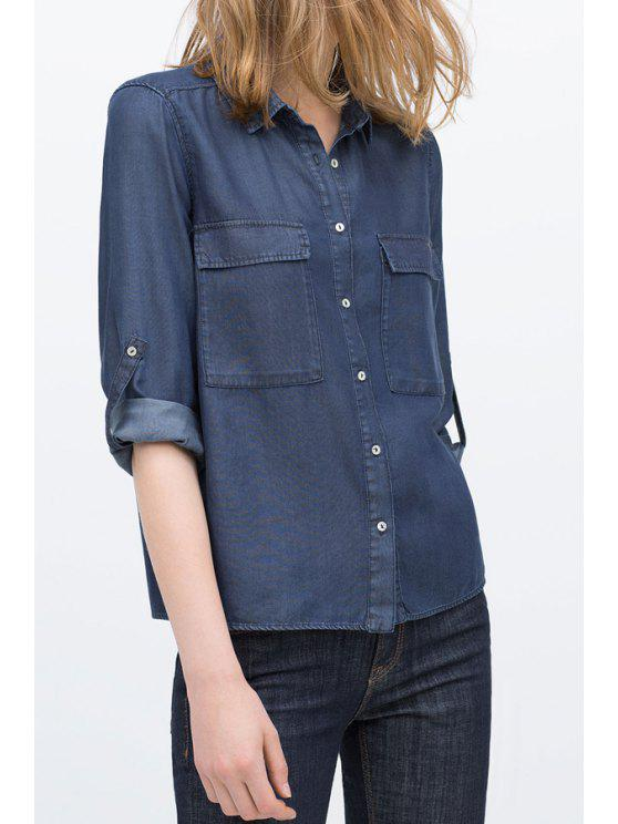 hot Deep Blue Flat Collar Straight Denim Shirt - DEEP BLUE S