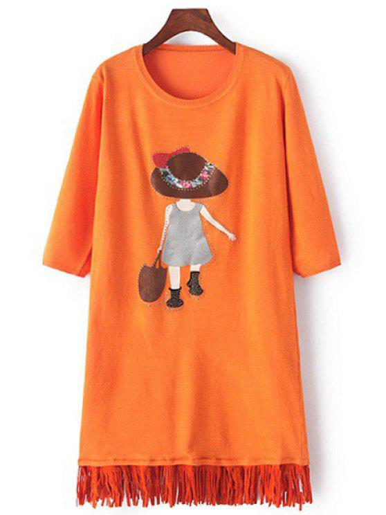 ladies Scoop Neck Girl Applique Long Sleeve Dress - ORANGE ONE SIZE(FIT SIZE XS TO M)