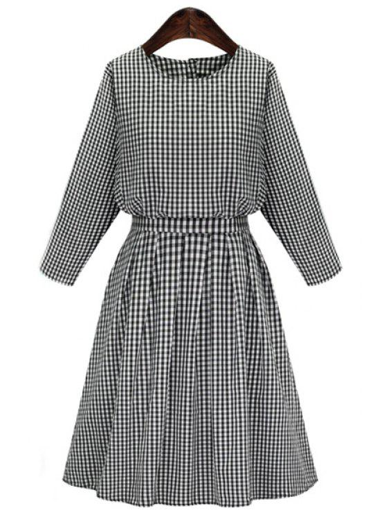 latest Long Sleeve Plaid Midi Dress - GRAY S