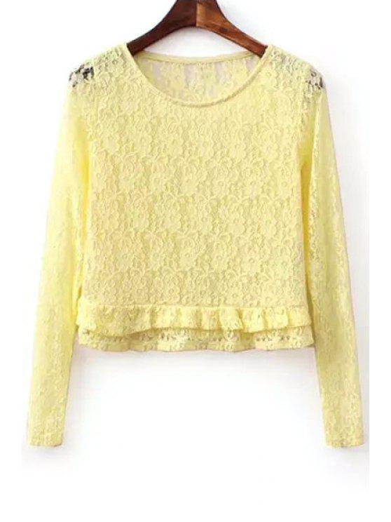 shops Lace Ruffles Spliced Long Sleeve Blouse - YELLOW S