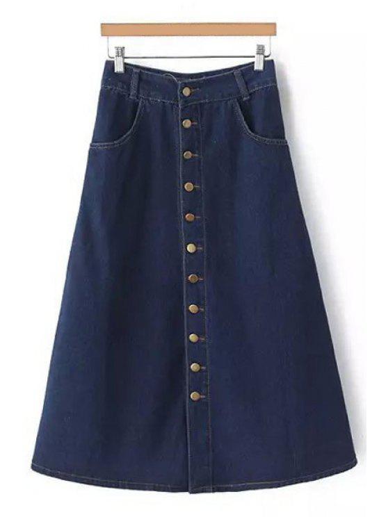 buy Deep Blue DenimHigh Waisted  Skirt - BLUE S