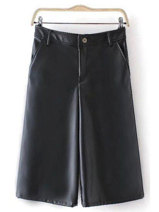 shop Solid Color Faux Leather Capri Pants - BLACK S