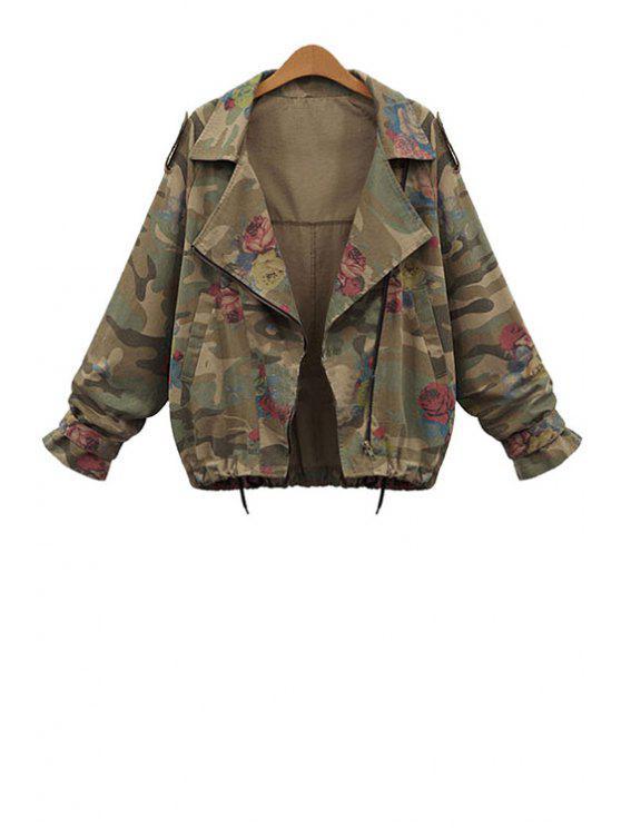 unique Lapel Loose-Fitting Camouflage Coat - GREEN L