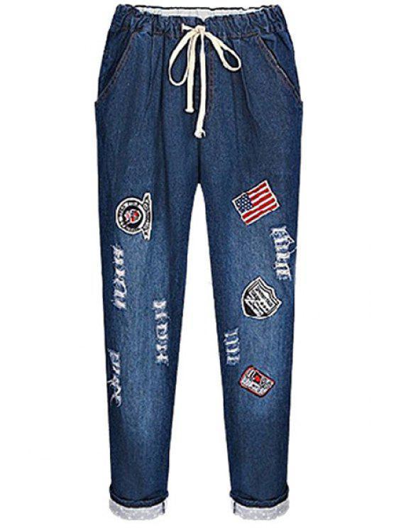 womens Appliqued Denim Pencil Pants - DEEP BLUE 2XL