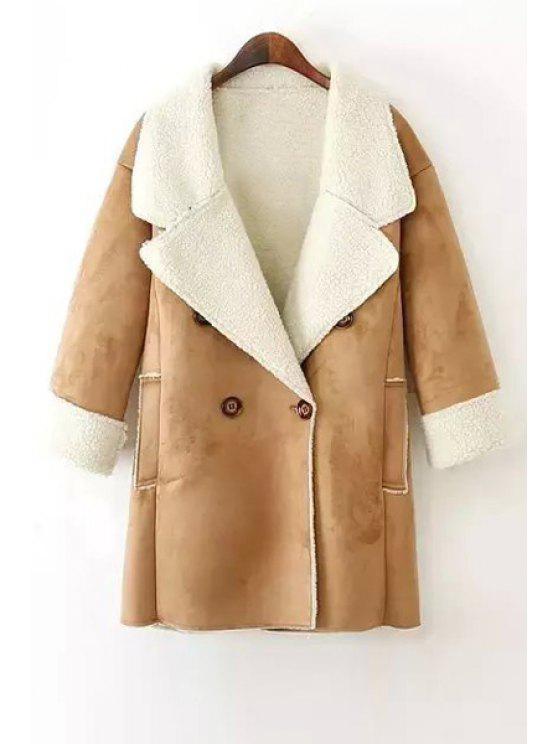 latest Lamb Wool Double-Breasted Long Sleeve Trench Coat - KHAKI S
