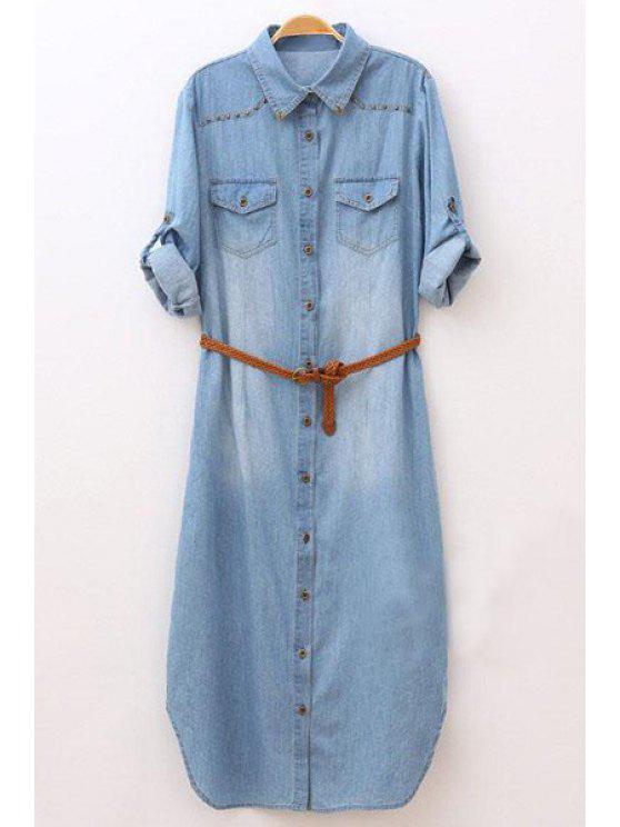 fancy Rolled Sleeve Single-Breasted Denim Dress With Belt - LIGHT BLUE S