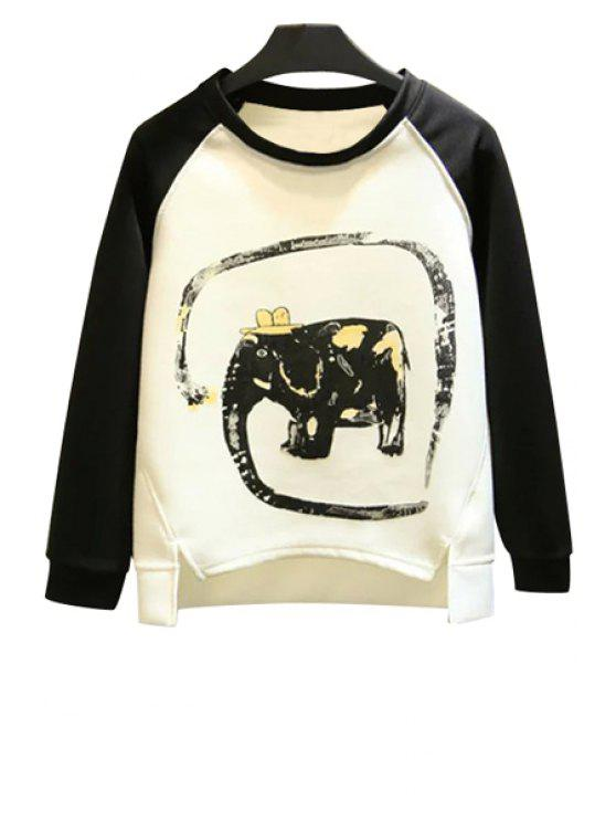 women Elephant Print Long Sleeve Sweatshirt - WHITE L