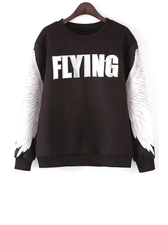 women's Wing Print Long Sleeves Sweatshirt - BLACK S