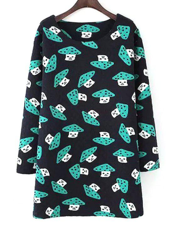 affordable Full Mushrooms Print Long Sleeve Dress - BLACK M