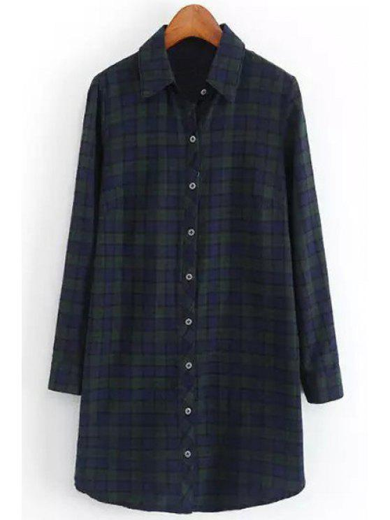 chic Polo Color Hit Color Plaid Long Sleeve Shirt - BLACKISH GREEN S