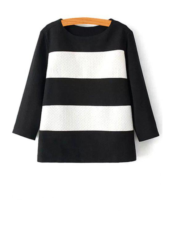 shop Striped Round Collar Long Sleeves T-Shirt - WHITE AND BLACK S