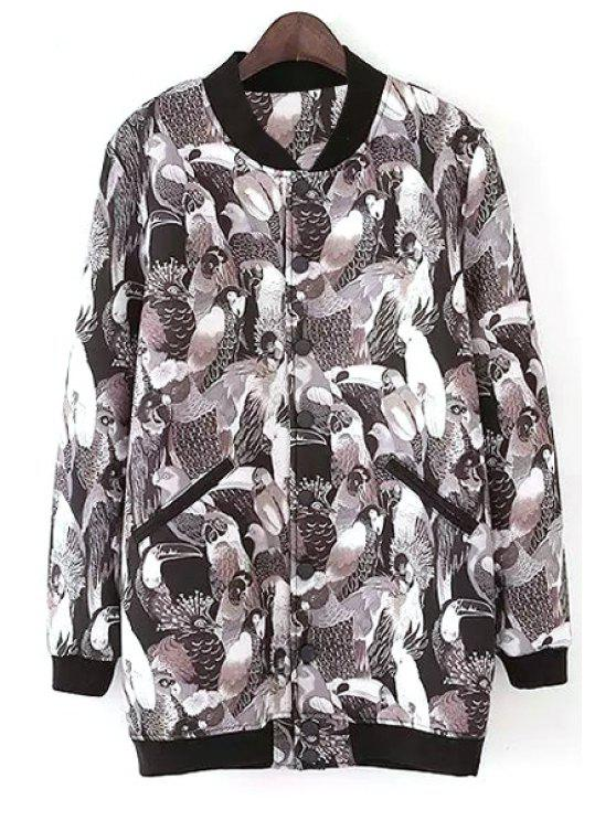 chic Full Parrot Print Stand Neck Jacket - BLACK L