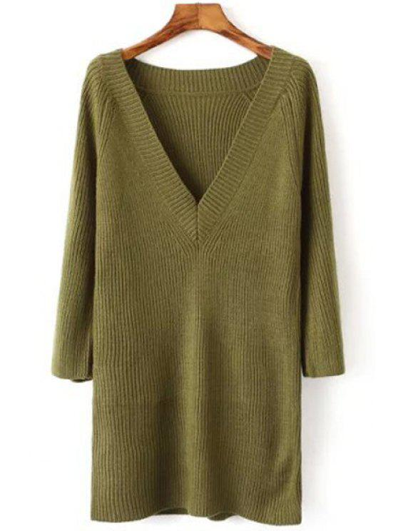 best V Neck Solid Color Long Sleeve Dress - GREEN ONE SIZE(FIT SIZE XS TO M)