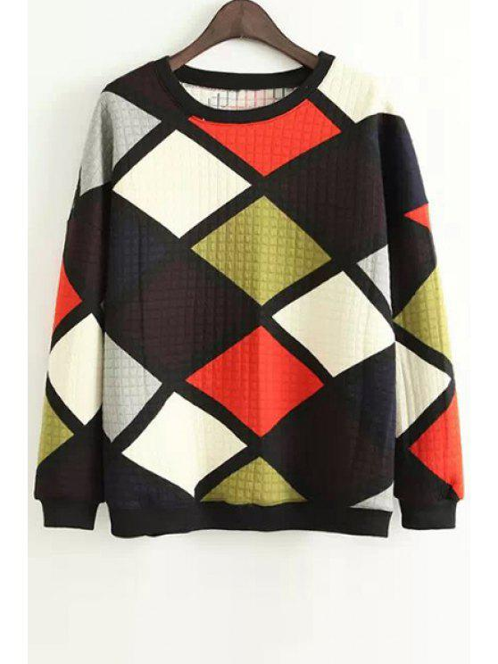 latest Argyle Print Long Sleeve Sweatshirt - BLACK M