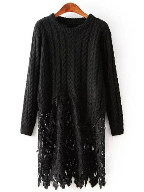 outfit Cable Knit Lace Spliced Sweater Dress - BLACK ONE SIZE(FIT SIZE XS TO M)