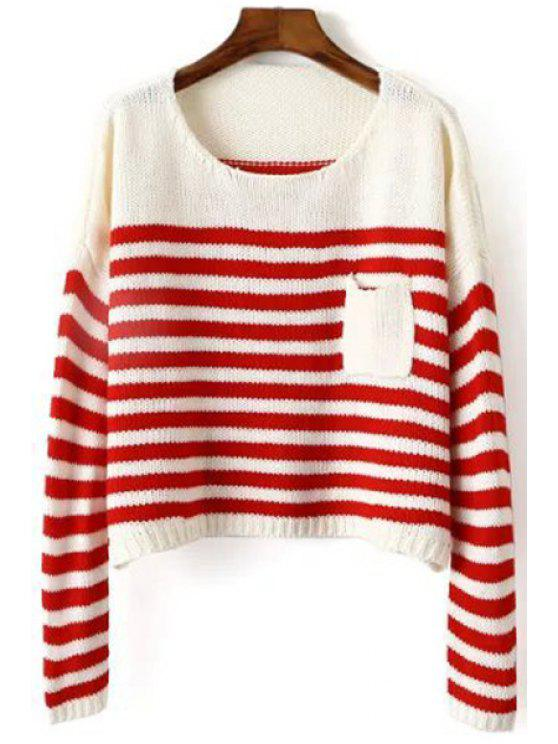 latest Scoop Neck Stripes Color Block Long Sleeve Sweater - RED ONE SIZE(FIT SIZE XS TO M)