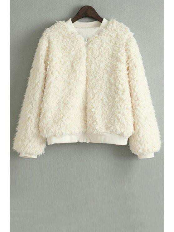 affordable Lamb Wool Stand Neck Long Sleeve Jacket - BEIGE M
