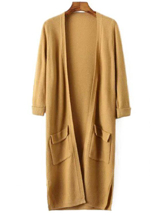 affordable Side Split Solid Color Long Sleeve Cardigan - KHAKI ONE SIZE(FIT SIZE XS TO M)