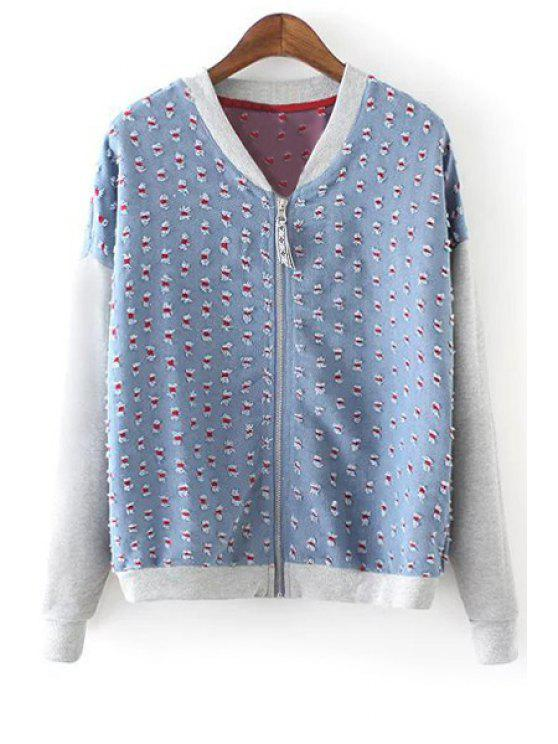 womens Stand Neck Bleach Wash Spliced Jacket - BLUE S